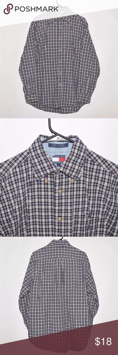 Vintage VTG 90's Tommy Hilfiger Plaid LS Shirt Brand: Tommy Hilfiger Item name: Vintage Plaid Long Sleeve Casual Button Up Shirt   Color: Multi-Color Condition: This is a pre-owned item. It is in excellent condition with no stains, holes, rips, etc. Comes from a smoke free household. Size: Men's Medium Measurements: Pit to Pit - 24 inches Shoulder to bottom - 32 inches Tommy Hilfiger Shirts Casual Button Down Shirts