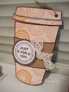 Coffee cup card with template and photo tutorial