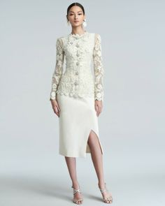 BRIDE CHIC: THE MATURE BRIDE. Decorated top perfectly matches a plain skirt