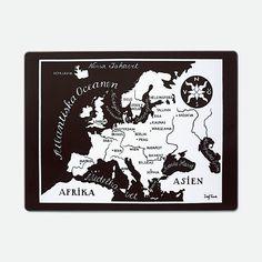 Underlägg Världskarta - Europa, Rektangulär, Josef Frank/Svenskt Tenn | Svenskt Tenn