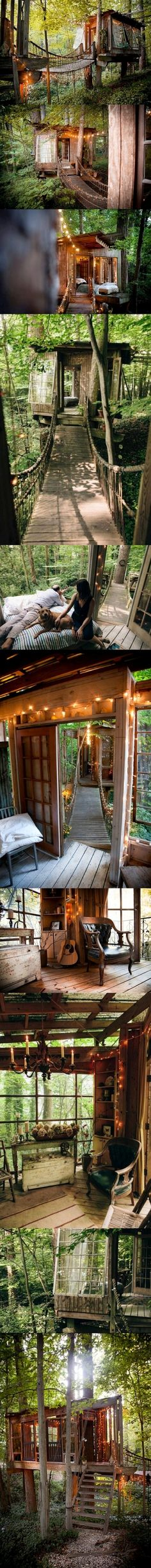 Architect Peter Bahouth built a series of houses in the trees connected by wooden bridges in Atlanta.Peter is an environmentalist whose love of nature and memories of boyhood treehouses inspired him to create a grown-up fort in his backyard http://www.goodshomedesign.com/peter-bahouths-treehouses/