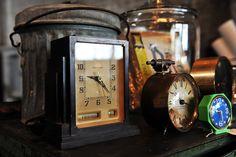 group of vintage clocks