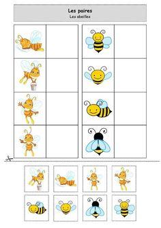 Fiche d'activité niveau maternelle de type association; Les paires : les abeilles