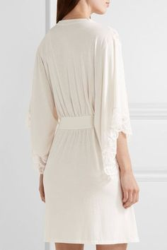 Eberjey - Marry Me Lace-trimmed Stretch-modal Jersey Robe - Ivory - small