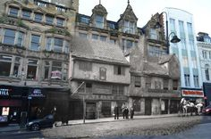 Then and now: The Unicorn Inn, right, stood in Newcastle's Bigg Market from Elizabethan times to 1883. It is now the site of a Holland and Barrett health food store, which will host a recreation of the party held to celebrate the opening of Newcastle's Victoria Tunnel in 1842