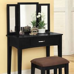 Wooden Vanity Set with 3 Sided Mirror and Padded Stool, Black By Casagear Home Makeup Desk With Mirror, Wood Makeup Vanity, Bedroom Makeup Vanity, Wooden Vanity, Vanity Set With Mirror, Makeup Stool, Vanity Table Set, Vanity Stool, Contemporary Vanity
