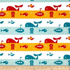 Birch Organic Marine Too Marine Life Multi from @fabricdotcom  Designed by Dan Stiles for Birch Organic Fabrics, this GOTS certified organic cotton print fabric is perfect for quilting, apparel and home décor accents. Colors include white, red, yellow and shades of blue.