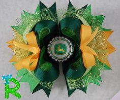 John Deere Boutique Hair Bow , Jhon Deere Layered Bow, Ott bow, Stacked Hair Bow by RoshelysBowtique on Etsy https://www.etsy.com/listing/211582235/john-deere-boutique-hair-bow-jhon-deere
