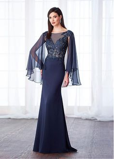 Shining Silk-like Chiffon & Stretch Satin Bateau Neckline Cape-sleeves Sheath/Column Mother Of The Bride Dresses With Beaded Lace Appliques
