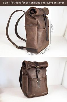 Rolltop leather backpack in various color combinations, belt buckle closure, roll top rucksack, travel backpacks, personalized engraving - all in her mind - Leather Roll, Leather Men, Leather Overnight Bag, Leather Backpack For Men, Duffle, Backpack Pattern, Leather Workshop, Leather Bags Handmade, Leather Projects