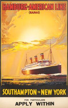Rodmell, Harry Hudson poster: Hamburg American Line Southampton to New York, 1920 ca