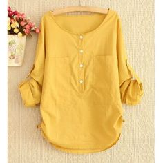 $20.05 Simple Style Scoop Neck Solid Color Pockets Long Sleeve Women's Blouse