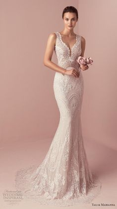 "Tali & Marianna 2018 Wedding Dresses — ""The One"" Bridal Collection tali & marianna 2018 bridal sleeveless thick strap deep sweetheart neckline full embellishment fit and flare wedding dress short train mv — Tali & Marianna 2018 Wedding Dresses Fit And Flare Wedding Dress, Wedding Dresses For Girls, Cheap Wedding Dress, Designer Wedding Dresses, Bridal Dresses, Wedding Gowns, Girls Dresses, Lace Wedding, Mermaid Wedding"