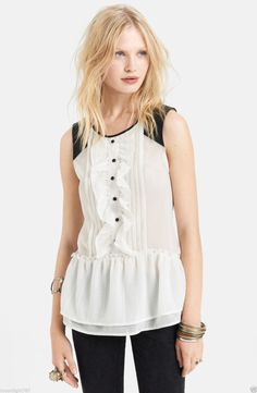 NEW Free People Ivory Paint the Town Sleeveless Tuxedo Top Women's Large L #FreePeople #Blouse