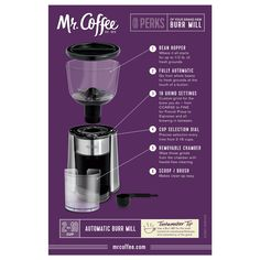 The Mr. Coffee Automatic Burr Mill Coffee Grinder is an optimized machine with a sleek design. The Grinder comes with 18 different customizable grind refinement selection. Coffee Tasting, Coffee Drinkers, Best Coffee Maker, Drip Coffee Maker, Coffee Uses, Hot Coffee, Burr Coffee Grinder, Espresso Machine Reviews, Coffee Facts