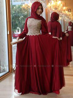 Dantelli Şifon Abiye - 3012 - Koyu Kırmızı - Pınar Şems