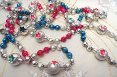 Large indent and faceted glass bead garland 'mercury by HandPycd
