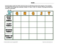 FREE Scattegories-type Activity for Halloween