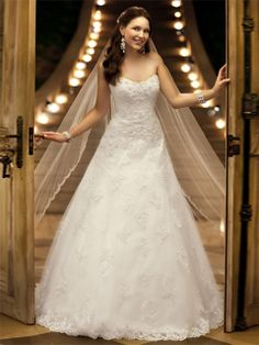 BallGown Sweetheart Lace Satin Sweep Train White Appliques Wedding Dresses at Msdressy