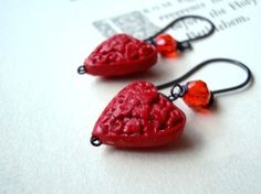 Valentine Jewelry Red Cinnabar Heart by FuchsiaBloomStudio on Etsy, $34.00