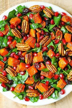 Butternut Squash Spinach Salad with Pecans, Cranberries, Pomegranate with Poppy Seed Honey-Lime Dressing