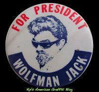 Wolfman Jack For President Classic Round Sticker - Custom Stickers . Clap For The Wolfman, Wolfman Jack, Wild Eyes, American Graffiti, Fair Games, Kustom Kulture, Pin And Patches, Vintage Pins, Round Stickers