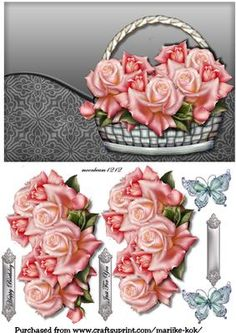 Basket With Roses 5 on Craftsuprint designed by Marijke Kok - Beautiful basket with pink silk roses and butterfly,for any occasion. - Now available for download!
