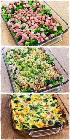 Broccoli, Ham, and Mozzarella Baked with Eggs..4-6 cups very small broccoli flowerets, blanched about 2 minutes, then drained well. 1-2 cups diced ham (1/2 - 1 lb.) 1 cup low-fat grated Mozzarella 1/3 cup thinly sliced green onion (optional, but good) 8-10 eggs, well beaten. Add salt and pepper to taste. You can mix in other spices to your liking as well. BAKE 375,35-45 MIN.