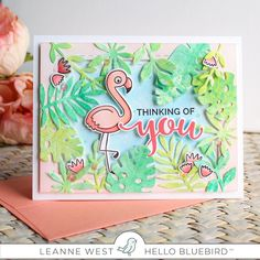 Here's Leanne @oneallgirlstudio with a gorgeous card featuring the pink flamingo from our Silly Birds stamp set combined with lush greenery…