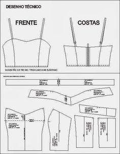 MOLDES VARIADOS E SELECIONADOS Corset Sewing Pattern, Dress Sewing Patterns, Clothing Patterns, Diy Clothing, Sewing Clothes, Fashion Sewing, Diy Fashion, Diy Pantalon, Tops Diy