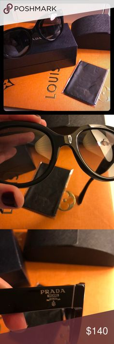 😎Prada Sunglasses 😎 Black, preciously worn but excellent condition.  Minimal signs of wear, no scratches on lenses.  Purchased at Nordstrom myself so 100% authentic!  Love these 😎!!  Comes with everything pictured.  Some faint hairline scratches on arms but nothing noticeable, comes from normal wear.  Cleaning cloth never used, still wrapped in plastic.  Case has some minimal signs of wear from being in my bag.  Classic design!! Prada Accessories Sunglasses