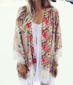 New Fashion Women Casual Floral Print Kimono Cardigan Coat Lace Crochet Loose Chiffon Blouse tops Outwear