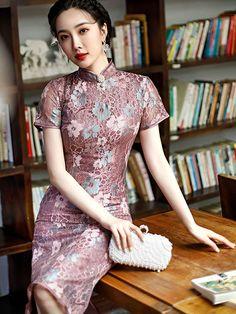 2021 Purple Floral Lace Qipao / Cheongsam Dress - CozyLadyWear