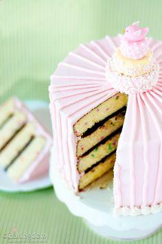Confetti Cake with Chocolate Butter cream filling and Vanilla Butter cream.