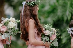 Santa Barbara Courthouse wedding witholive leaf bridesmaid crowns Bridesmaid Crowns, Bridesmaid Flowers, Santa Barbara Courthouse Wedding, Flower Crown, Leaves, Crown Flower, Floral Wreath, Floral Crown, Flower Crowns