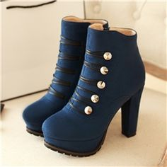 New Suede Chunky Heel Lace Up Closed Toe Ankle Boots With Platform