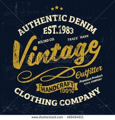 Typography vintage Denim brand logo print for t-shirt. Retro artwork vector illustration