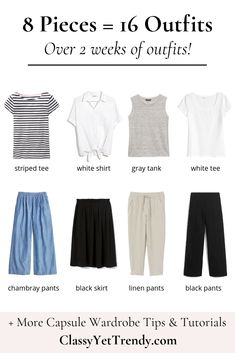 8 Pieces = 16 Outfits: French Minimalist Carry-On Travel Capsule Wardrobe - Clas. - 8 Pieces = 16 Outfits: French Minimalist Carry-On Travel Capsule Wardrobe – Classy Yet Trendy - Classy Yet Trendy, Casual Chique, Travel Capsule, Travel Wear, Fashion Capsule, Minimalist Fashion, Minimalist Outfits, Minimalist Clothing, French Minimalist Wardrobe