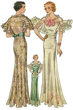 T7653 1930s Evening Gown with Wing Sleeves Sewing Pattern Hollywood Glamour