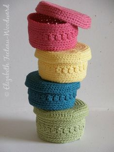 Colorful Crocheted Baskets & Covers. How cute would these be in a little girls room?!