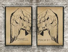 Psalm Print Angel Wings Poster Scripture by OurHeartsRejoice Psalm 91 1, Psalms, Scripture Wall Art, Angel Wings, Bible, Handmade Gifts, Poster, Vintage, Etsy