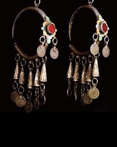 Morocco ~ Western Anti Atlas, Tiznit | Pair of old 'Dewwah' pendant earrings; silver, enamel and glass cabochons | ca. 1835 or earlier.  |  Est. 300 - 400€ ~ (Dec '12)