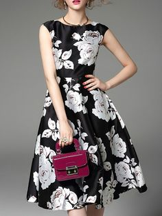 Red White Floral Sleeveless A-line Floral-print Sleeveless Swing Midi Dress