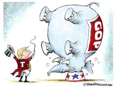 #DaveGranlund cartoon about Trump turning the Republican party into a circus.
