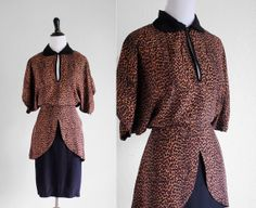 Vtg 80s Norma Kamali leopard print 40s inspired by WhiteLightShop, $105.00