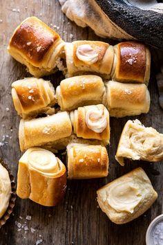 Salt And Honey, Honey Butter, Easy Thanksgiving Sides, Sweet Dinner Rolls, Parker House Rolls, Half Baked Harvest, Holiday Dinner, How To Make Bread, Holiday Recipes