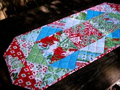 Christmas Table Runner Kate Spain Flurry Winter by atthebrightspot, $42.00
