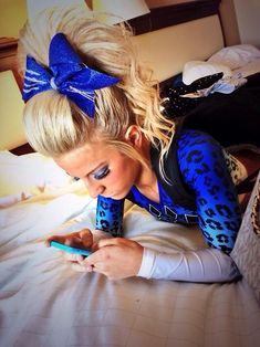 i wish cheer hair was expectable for everyday even though i don't cheer All Star Cheer, Cheer Mom, Cheer Stuff, Cheer Hair Bows, Cheer Ponytail, Cheer Athletics Cheetahs, Cheerleading Tips, Cheer Makeup, Cheer Pictures