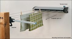 Retractable Clothesline - 6 lines can each support 22 pounds of laundry.  Can be extended 6 metres.