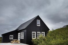 For the Home - scandinavian interiors island, ferienhaus island, ferienhaus reykjavik, holzhaus, fer Dark House, House By The Sea, Design Exterior, Exterior Paint, Exterior Doors, Cabin Exterior Colors, Black House Exterior, Cottage Exterior, Timber House